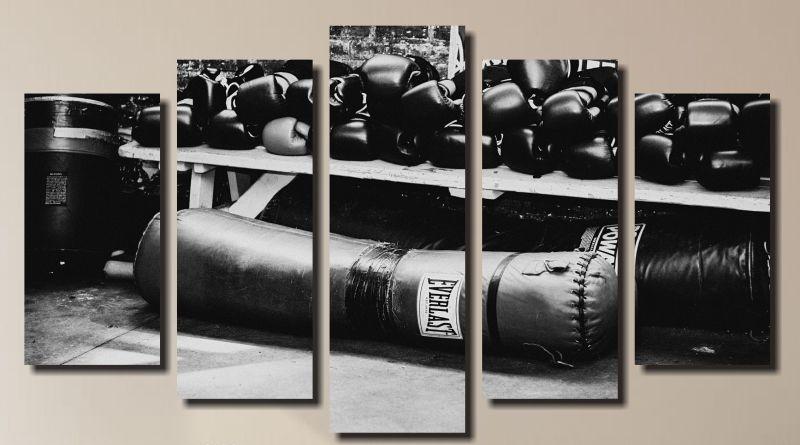 Quadro Decorativo Academia esporte 5 Peças
