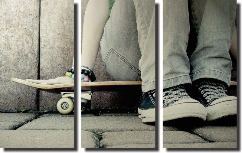 Quadro Decorativo Skate 3 Peças Para Quarto
