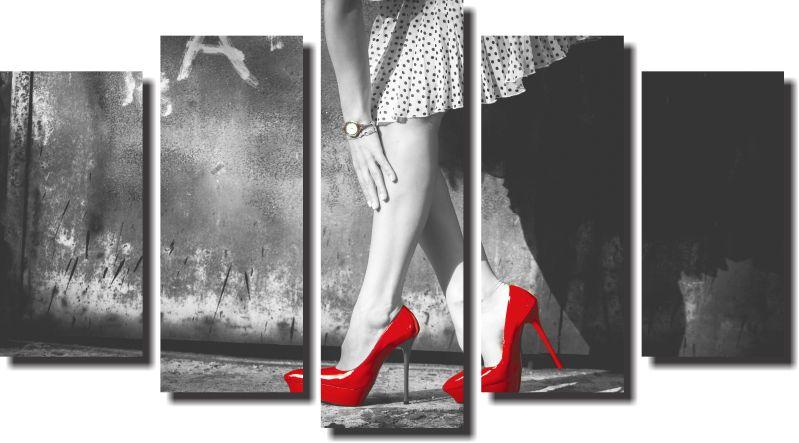 Quadro Decoração salão beleza  Modelo salto  Vermelho