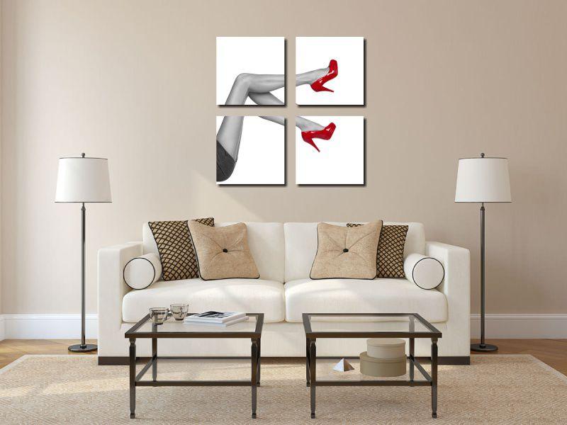 kit 4 Quadros Salão de Beleza Modelo Salto Vermelho