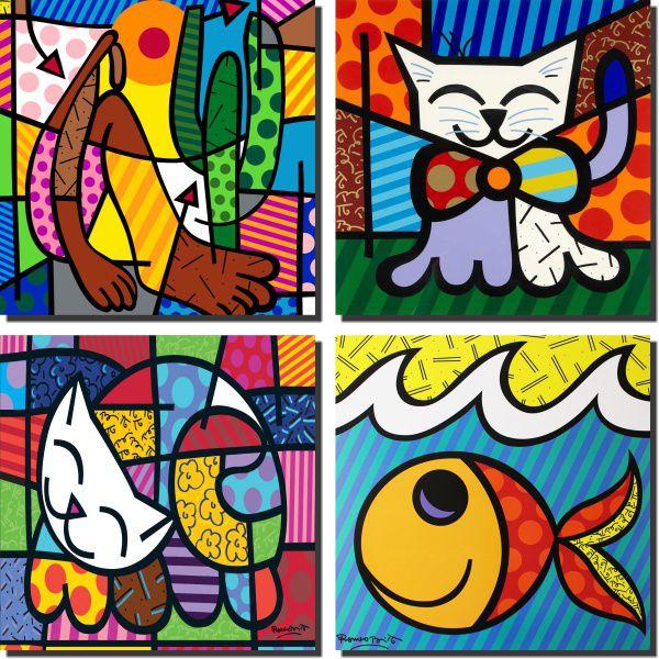 romero britto kit 4 quadros abapuru peixinho e  2 gatinhos