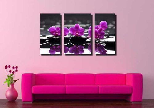 Quadro Decorativo Orquídea Roxa 3 Peças Para Sala