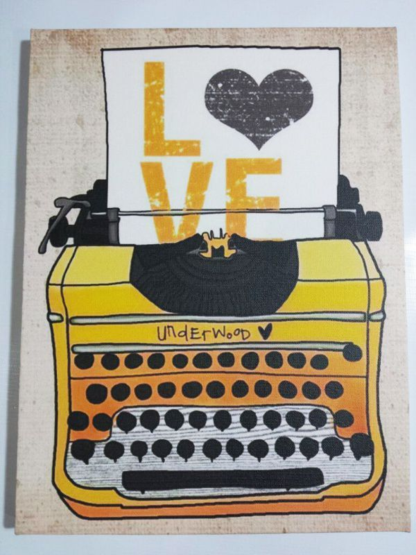 Quadro maquina de escrever vintage retrô  decoração