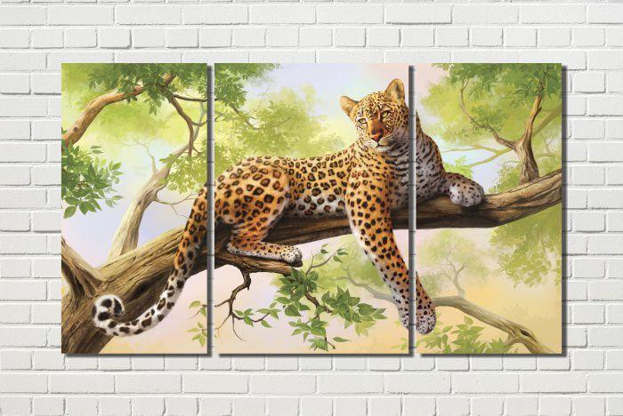 quadro onça pintada na árvore 3 peças