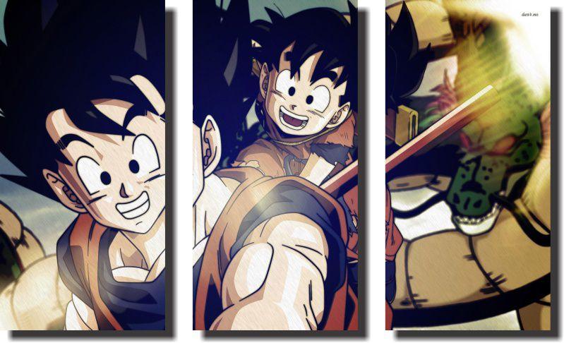 Quadro Dragon Ball z goku super sayajin 3 Peças Para Sala m2