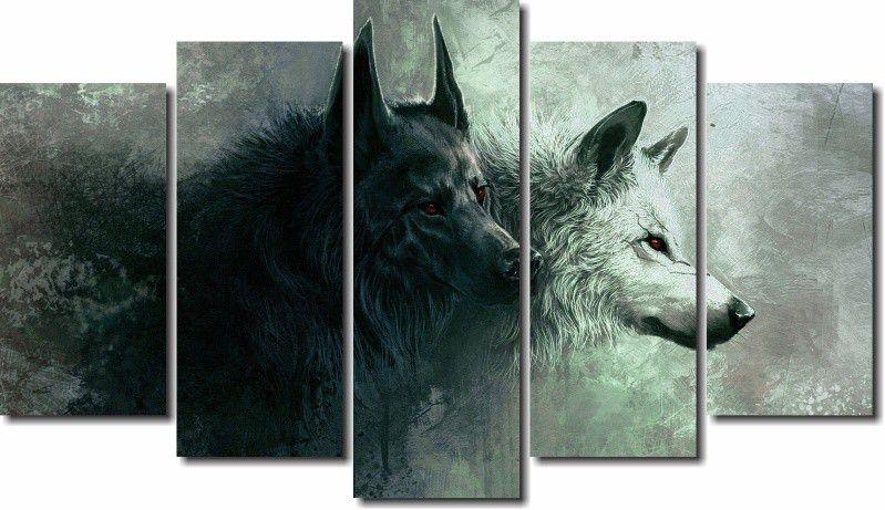 Quadro Decorativo Animal Lobos Alcateia 5 Peças para Sala