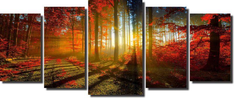 Quadro Decorativo Floresta Laranjada  5 Peças 160x70