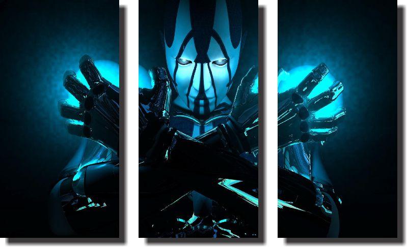 Quadro Decorativo de Robô Azul Varias Peças
