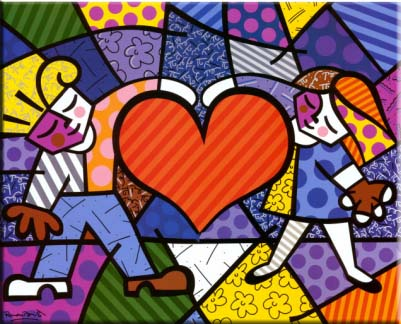 Quadro Romero Britto - Heart Kids 100x90