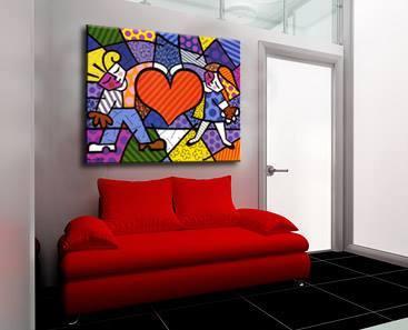 Quadro Romero Britto - Heart Kids 100x90