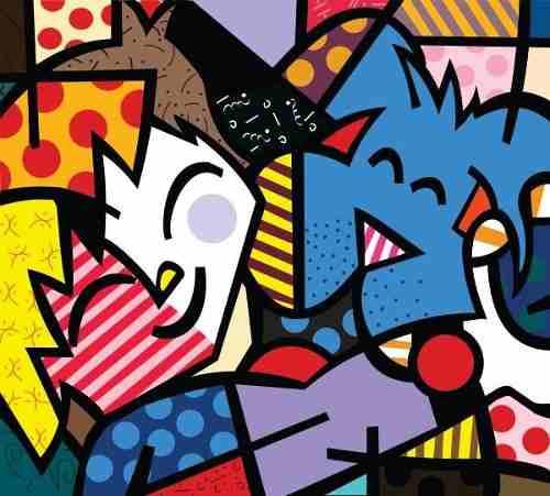 Quadro Decorativo Romero Britto Best Friends 90x 100 Cm