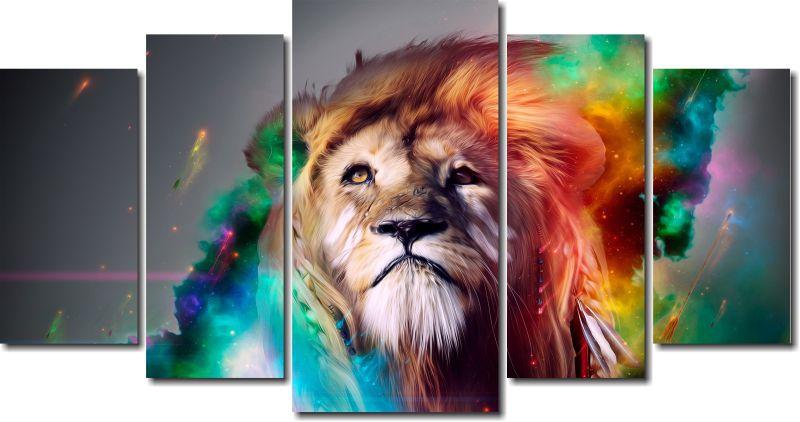 Quadro Decorativo Leão Colorido Varias Peças
