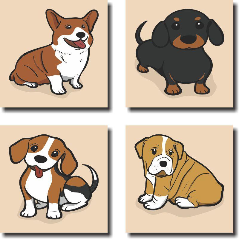 Quadros Decorativos Pets Mascotes Cachorro 4 Peças
