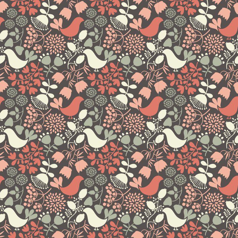 Papel de Parede Pássaro com Flores Rolo de 0,60 x 3,00