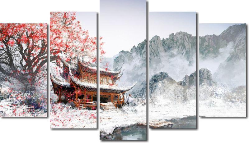 Quadro Decorativo Paisagem Japão Mika Casa  Para Sala e Quarto