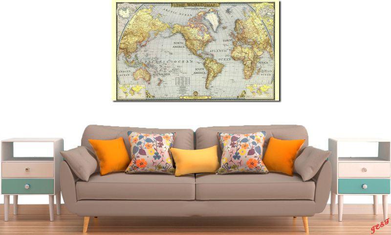 Quadro Decorativo Vintage Mapa Mundi 100x60  Para Sala e Quarto
