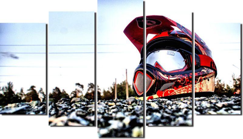 Quadro Decorativo Paisagem Capacete Motocross em Pedras Varias Peças