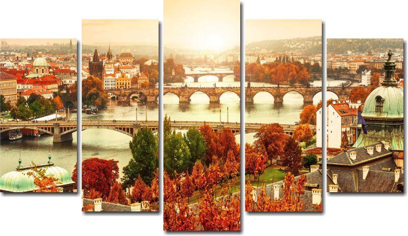 Quadro Decorativo Paisagem Outono Praha Slovakia Varias Peças Para Sala e Quarto