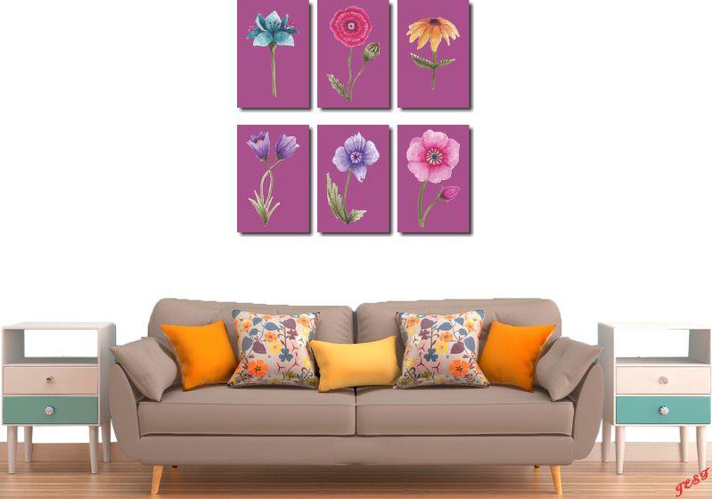 Quadros Decorativos Kit 6 Peças Flores Coloridas Varios Modelos Para Sala e Quarto