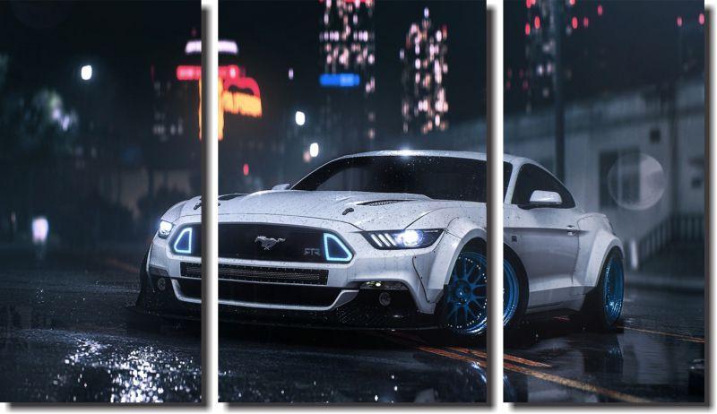 Quadro Decorativo Paisagem Carro Mustang Varias Peças