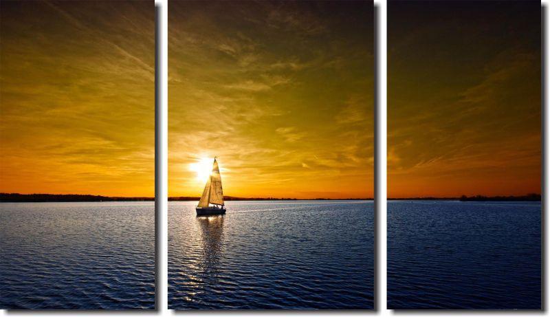 Quadro Decorativo Paisagem Fim D´dia No Mar Com Barco Varias PÇ