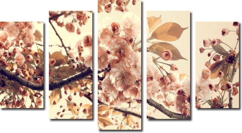 Quadro Decorativo Galhos Flores Bege Varias Peças Para Sala e Quarto