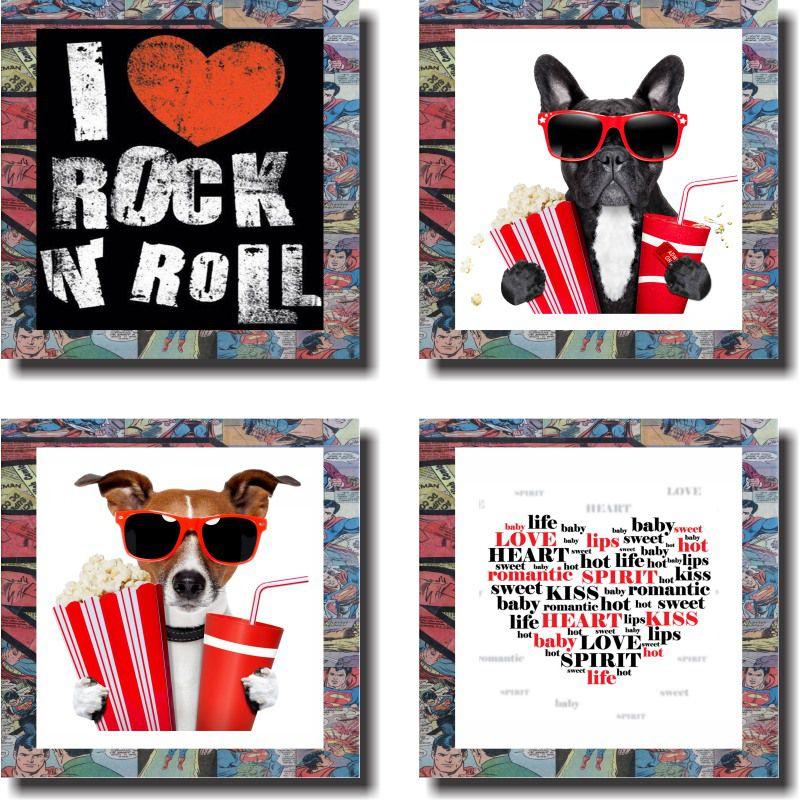 Quadro Decorativo Cachorro Cinema ,Pipoca ,Love , Rock