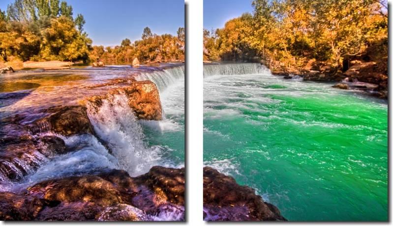 Quadro Decorativo Paisagem Riacho Cachoeira Varias Peças