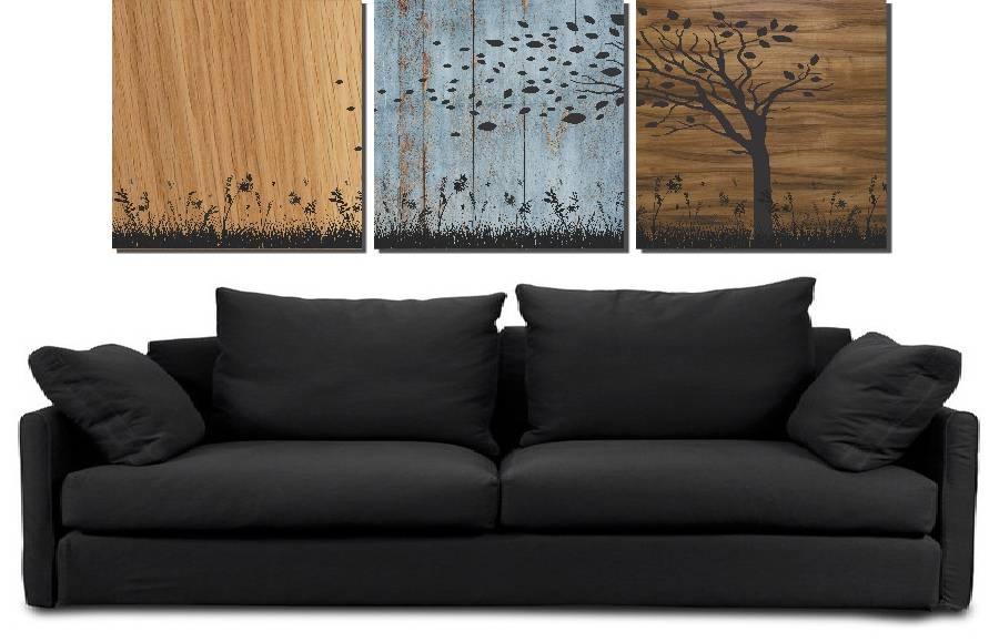Kit 3 Quadros Árvores Moderno Decorativo 3