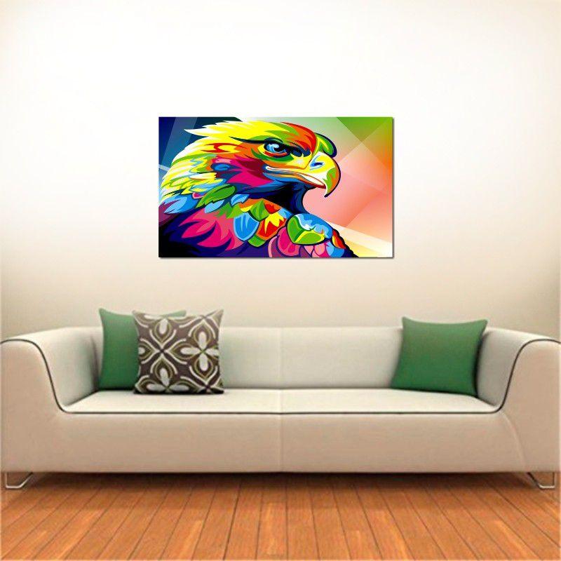 Quadro Decorativo Aguia Moderna Colorida Varias Peças Para Sala