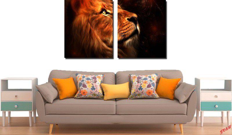 Quadro Decorativo Animal Leão Dourado Varias Peças