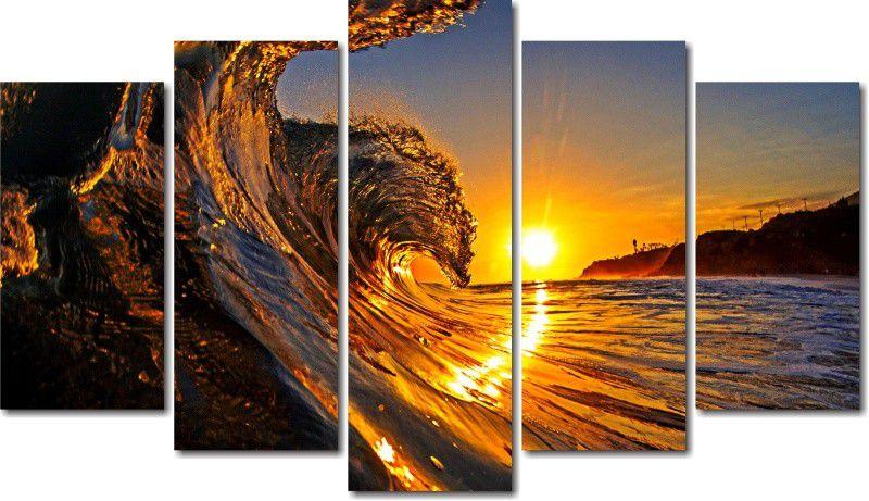 Quadro Decorativo Paisagem Onda do Mar Com Sol Varias Peças