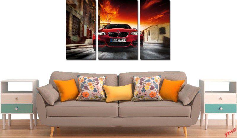 Quadro Decorativo  Carro BMW Vermelha Varias Peças Para Sala