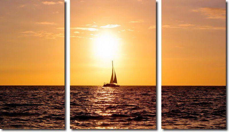 Quadro Decorativo Paisagem Barco Velejando No Mar Fim De Dia Varias Peças M2