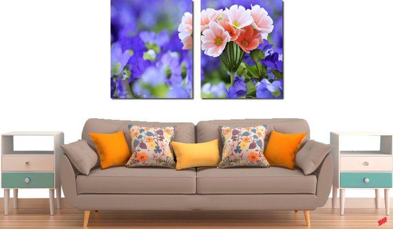 quadro decorativo flores roxas para sala 2 peças