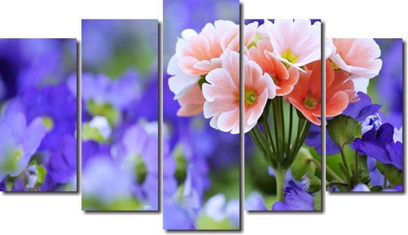 quadro decorativo flores roxas para sala 5 peças