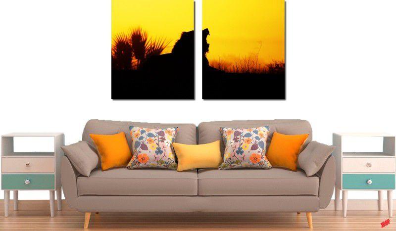 quadro decorativo por do sol com leao para quarto e sala 2 peças