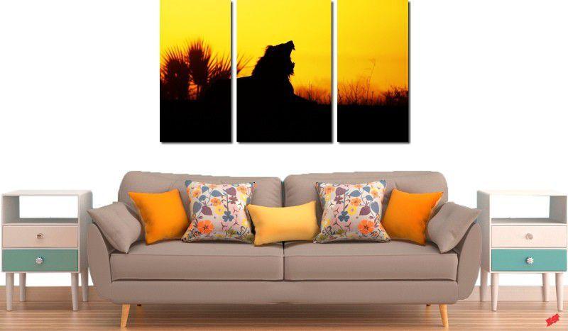 quadro decorativo por do sol com leão para quarto e sala 3 peças