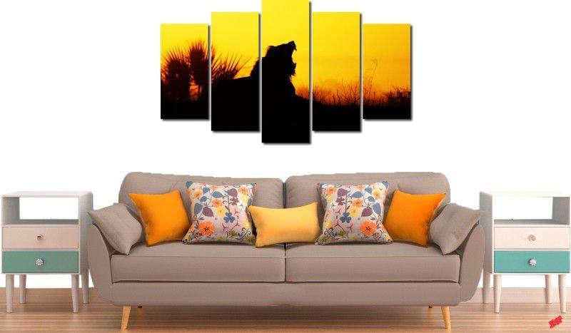 quadro decorativo por do sol com leão para quarto e sala 5 peças
