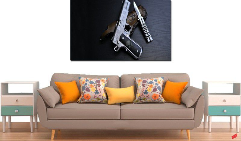 quadro decorativos armas e facas para quarto e sala 1 peça