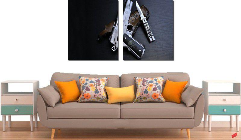 quadros decorativos armas e facas para quartos e salas 2 peças