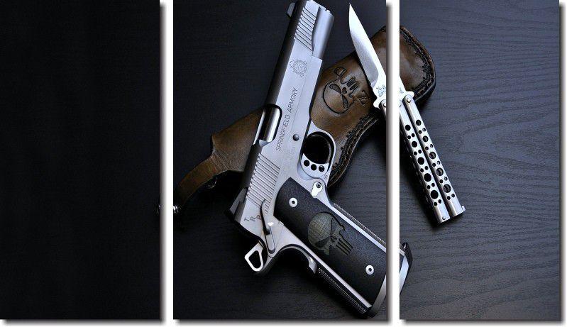quadros decorativos armas e facas para quarto e sala 3 peças