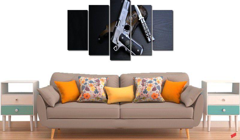 quadros decorativos armas e facas para quartos e salas 5 peças