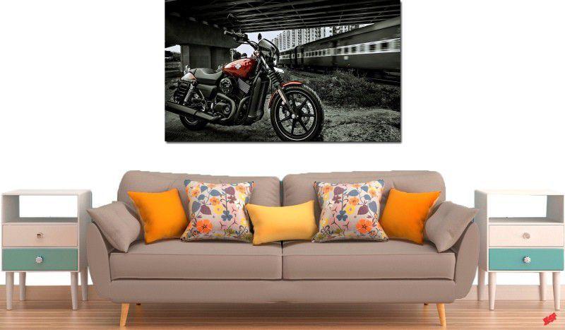 quadro decorativo paisagem moto e trem para quarto e sala 1 peça
