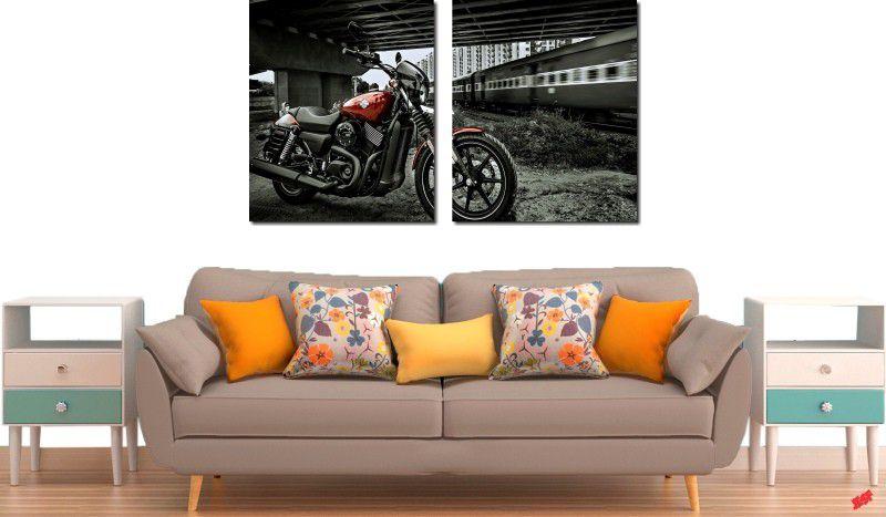 quadros decorativos paisagens motos e trens para quartos e salas 2 peças