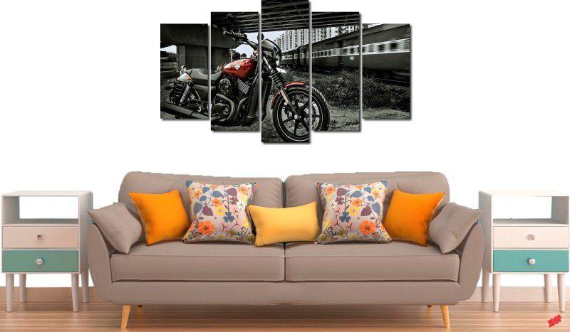 quadros decorativos paisagens motos e trens para quartos e salas 5 peças
