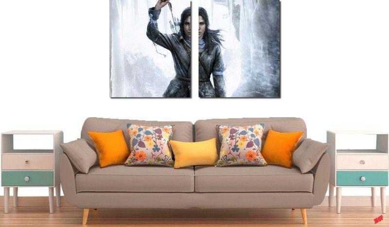 quadros decorativos jogo rise of the tomb raider para quartos e salas 2 peças