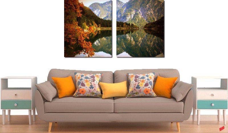 Quadros Decorativos Paisagem Lago Com Montanha 2 Peças