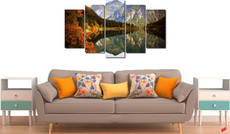 Quadros Decorativos Paisagem Lago Com Montanha 5 Peça