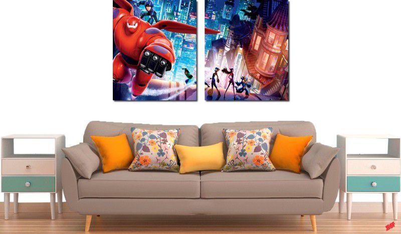 quadros decorativos filme operação big hero para quartos e salas 2 peças